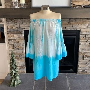 Ace fashion tie dye off the shoulder bell sleeve d